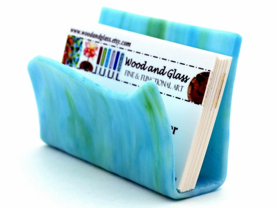 Business Card Holder / Fused Glass / Art Glass / Stained Glass / Aqua Blue - Turquoise Blue