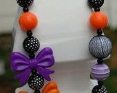 Girls Necklace Toddler, Tween Chunky Beaded Halloween Bubblegum Necklace