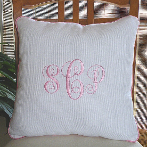White Monogrammed Pillow  with Pink Piping, Personalized Pillow, Monogram Pillow