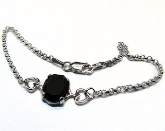 Sterling Silver and Onyx Cabochon Heart Bracelet