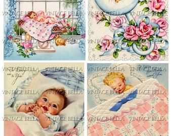 Vintage 1940s Baby Birth Greeting Card Digital Download 269 - by Vintage Bella collage sheet