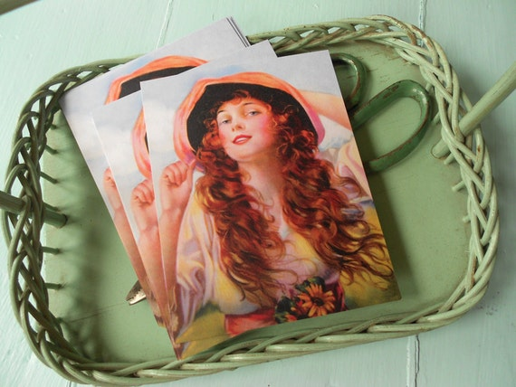8 Vintage Long Haired Belle Postcards by Vintage Bella