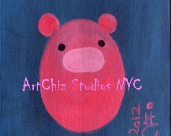 Piggy Pie. Baby Piglet Art. Periwinkle. Fuchsia. Nursery Farm Animal. Baby Shower Gift. Children illustration. kids art print, poster