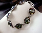 Sterling Silver Glass Eye Bracelet, I Have My Eyes On You, Iridescent Reflection, Linked Arm Decor At 7 1/2 Inch Long