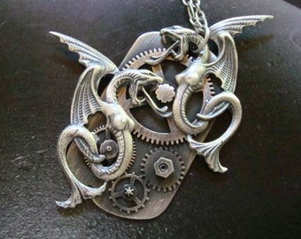 Dragons, Gears,Steampunk Breasted Sterling Silver Dragons In Conflict, Gears,Cogs, And Fantasy Necklace, Original Design