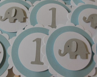 Elephant and 1st Birthday Cupcake Toppers - Blue, Gray and White - Boy Birthday Party Decorations - Set of 12