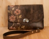 Leather Clutch - Linea pattern with flowers in pink, yellow and antique black
