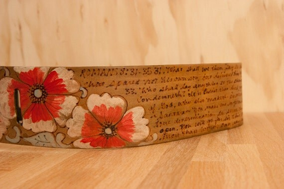 Leather Guitar Strap - Personalized Belle Smokey Pattern with Flowers - Red + Brown  - Custom Guitar Strap for Acoustic or Electric Guitars