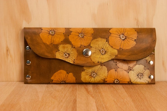 Leather Pouch or Clutch - Peach, yellow and antique brown  - Poppy Garden pattern with flowers