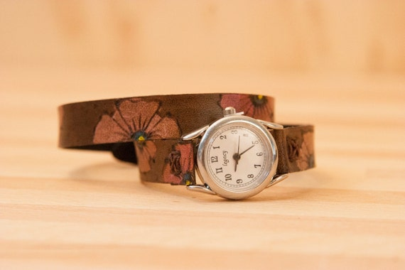 RESERVED FOR KAREN - Leather Wrap Watch - Poppy Garden Pattern with Flowers - Pink and antique black