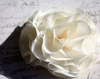 Cream  flower hair clip, chiffon fabric flower in ivory for shabby chic wedding