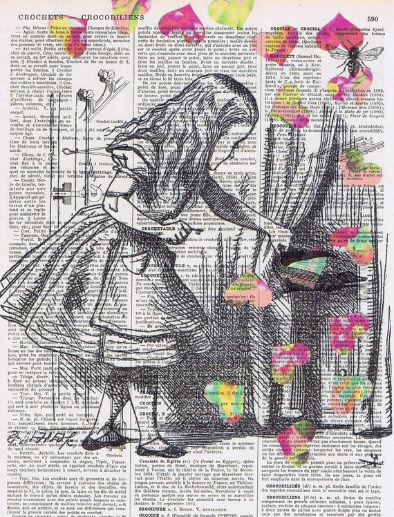Alice in Wonderland  / Antique Book Page  Prints/ Alice looks behind  curtain with pink hearts, buy 3 get 1 FREE. OOAK, affordable art