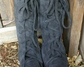Charcoal gray Earthgarden handmade lace up moccasin knee high Elf Boots ORDER YOUR SIZE