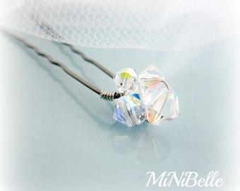 set of 6 Swarovski Crystal Diamond Cluster Bridal Hair Pins. Crystal Hair Pins. Prom Hair Pins
