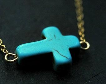 Turquoise Sideways Cross Necklace -- sale