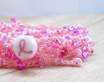 Pink Wrap Bracelet, Crochet Boho Chic Bracelet, Beaded Breast Cancer Awareness Bracelet , Women's Awareness Jewelry, Pink Crochet Jewelry