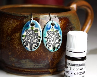 Sage and Cedar Scented Ceramic TREE Earrings with Sage and Cedar Essential Oil