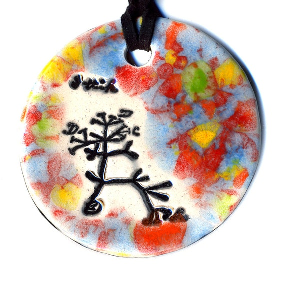 The Original Tree of Life Ceramic Necklace or Ode to Charles Darwin in Multicolor Speckle
