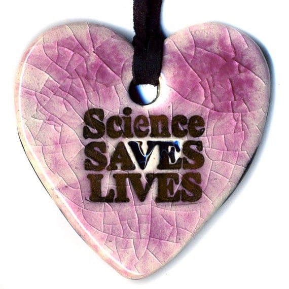 Science Saves Lives Ceramic Necklace in Pink Crackle