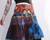 Mythos African wax print batik hand dyed cotton patchwork tiered ethnic gypsy bohemian hippie bustle skirt small medium large Xlarge