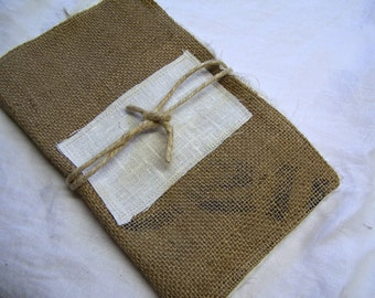 Linen Journal 'Stitch Book' Burlap Cover - Embroidery Sketchbook - Soft and Foldable -