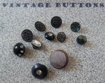 BEAUTIFUL Vintage Black Mix of Buttons