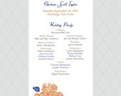 Coral Reef Wedding Programs