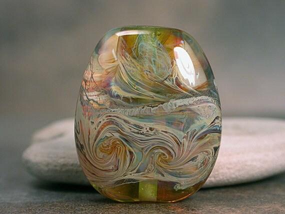 Lampwork Glass Focal Bead Lime Green Webbed Silver Glass Divine Spark Designs SRA