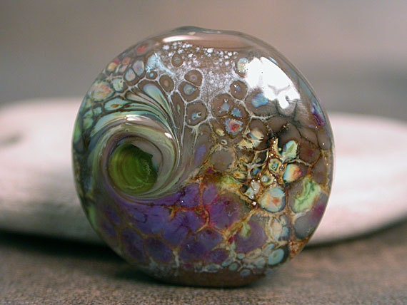 Organic Lampwork Focal Bead Mushroom Taupe with Silver Foil and Frit Divine Spark Designs SRA