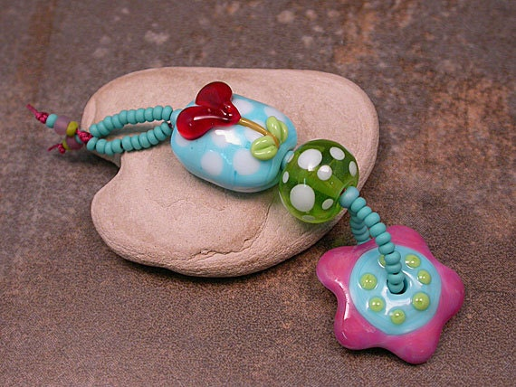 Lampwork Bead Happy Heart Stack Pendant Dangle Turquoise Lime Purple Red Divine Spark Designs SRA