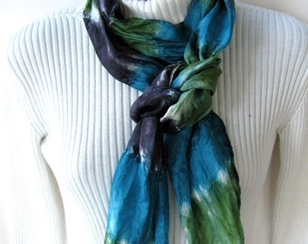 Hand dyed skinny silk scarf for women- Turquoise scarf, navy blue scarf, green scarf-womens scarves