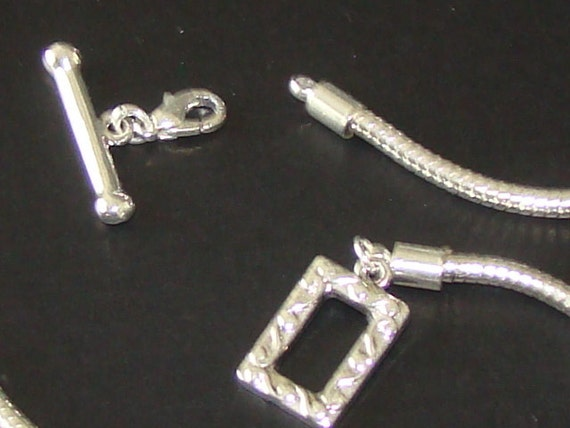 Cable style beadable Necklace approx 16 inch rope chain with rectangle toggle clasp