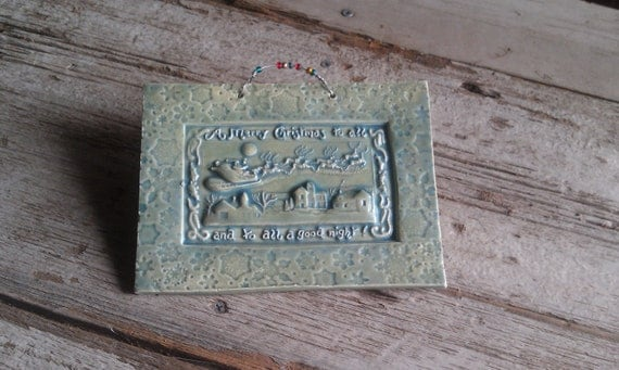 Old Fashioned Christmas Scene Tile in Sage Green