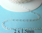 20 ft - Sterling Siver Flat Cable Chain  2 x 1.5mm