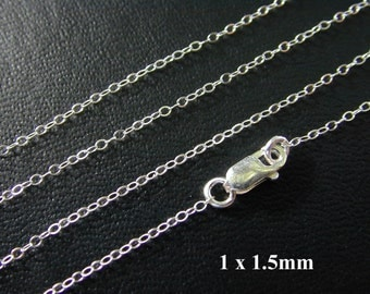 24 Inch Sterling Silver Finished Cable Chain - Custom Lengths Available