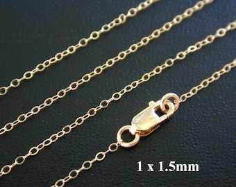 18 Inch 14k Gold Filled Finished Cable Chain - Custom Lengths Available