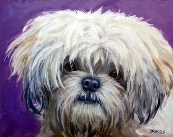 Lhasa Apso Art  Print of Original Acrylic Painting, Cream Lhasa on Purple, Tibetan bearded dog, Non-sporting dog, small dog, long-haired dog