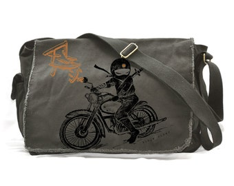 Ninja motorcycle rider Raw-Edge Messenger Bag ( KHAKI GREEN )