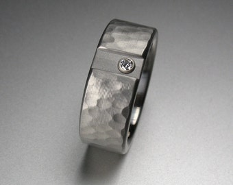 Titanium Diamond Brushed Hammered Wedding Ring