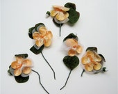 Vintage Fall Millinery Bouquets - Velvet Light Orange Flowers with Orange Stamens and Green Leaves