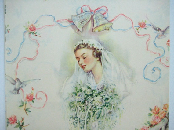 Vintage 1940's Mid Century Bridal Wedding Wrapping Paper