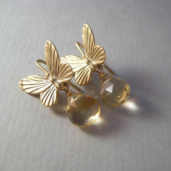 Brass Butterfly Earrings, Faceted Citrine Briolette Earrings, Citrine Earrings, November Birthstone, Under 25