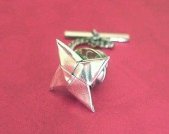 Silver Orgiami Shuriken Tie Tack - Origami Ninja Star