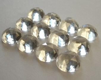 Gemstone Cabochons White Quartz Rose Cut 10mm FOR TWO