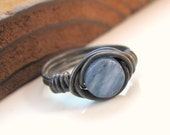 Blue kyanite sterling silver wire wrapped ring size 5 and a half