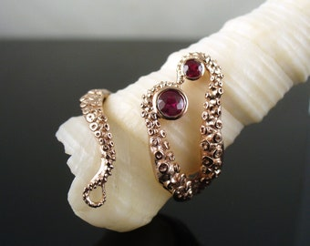Wicked in Rose Gold with Rubies, Tentacle Ring, Octopus Ring, Wedding Band, Engagement Ring, Bridal Jewelry
