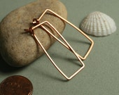 Handmade hammered solid copper rectangle hoop, one pair (item ID LEC12G18)