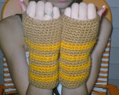 warm brown and gold wristers / fingerless gloves /medium to large