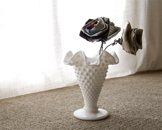 tiny white hobnail milk glass bud vase with ruffles, vintage Fenton