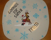 Cookies for Santa Personalized Plate - Rocking Santa and Roudolph